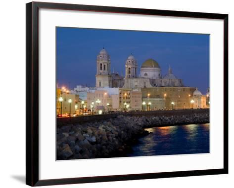 Cathedral Waterfront Dusk, Cadiz, Andalucia, Spain, Europe-Charles Bowman-Framed Art Print