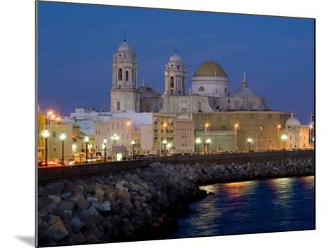 Cathedral Waterfront Dusk, Cadiz, Andalucia, Spain, Europe-Charles Bowman-Mounted Photographic Print