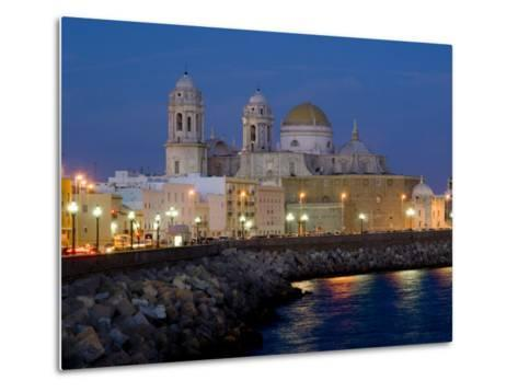 Cathedral Waterfront Dusk, Cadiz, Andalucia, Spain, Europe-Charles Bowman-Metal Print
