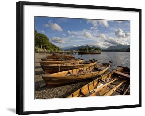 Boats Moored at Derwentwater, Lake District National Park, Cumbria, England, United Kingdom, Europe-Jean Brooks-Framed Art Print
