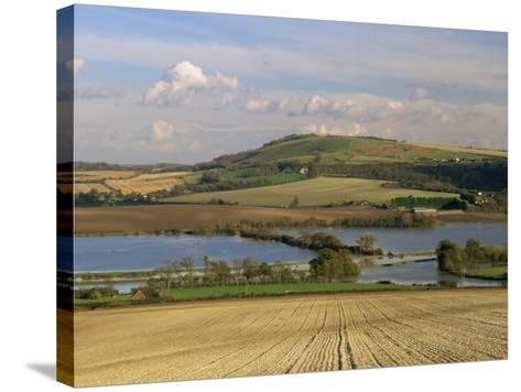 Arun Valley in Food, with South Downs Beyond, Bury, Sussex, England, United Kingdom, Europe-Pearl Bucknall-Stretched Canvas Print