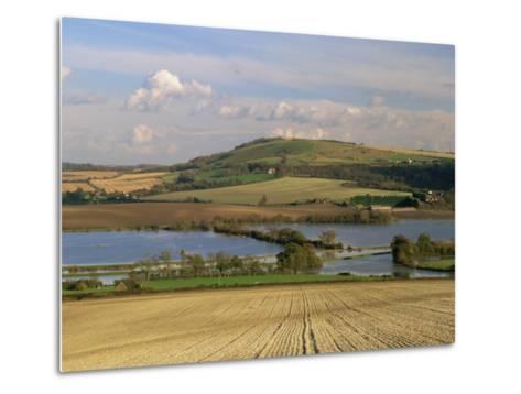 Arun Valley in Food, with South Downs Beyond, Bury, Sussex, England, United Kingdom, Europe-Pearl Bucknall-Metal Print