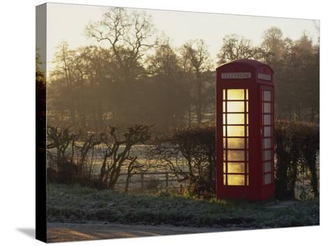 Red Telephone Box on a Frosty Morning, Snelston, Hartington, Derbyshire, England, UK-Pearl Bucknall-Stretched Canvas Print