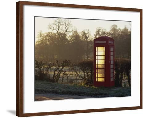 Red Telephone Box on a Frosty Morning, Snelston, Hartington, Derbyshire, England, UK-Pearl Bucknall-Framed Art Print