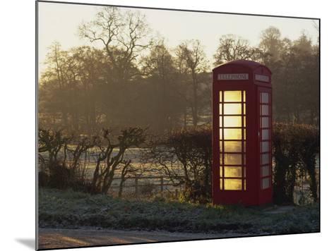 Red Telephone Box on a Frosty Morning, Snelston, Hartington, Derbyshire, England, UK-Pearl Bucknall-Mounted Photographic Print