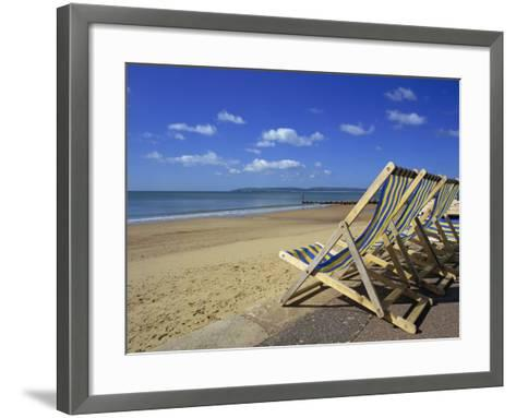 Deckchairs on the Promenade Overlooking Beach, West Cliff, Bournemouth, Dorset, England, UK-Pearl Bucknall-Framed Art Print