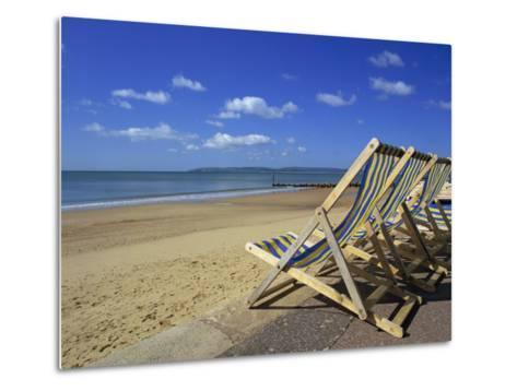 Deckchairs on the Promenade Overlooking Beach, West Cliff, Bournemouth, Dorset, England, UK-Pearl Bucknall-Metal Print