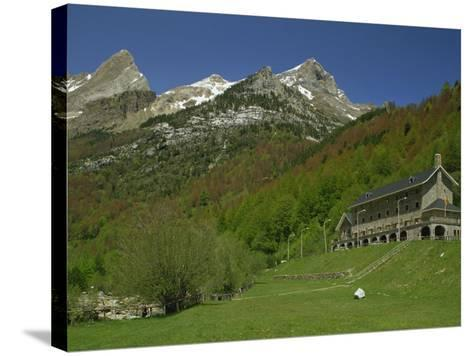 Parador of Bielsa with Snow Capped Mountains Behind, in Aragon, Spain, Europe-Michael Busselle-Stretched Canvas Print