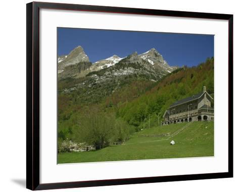 Parador of Bielsa with Snow Capped Mountains Behind, in Aragon, Spain, Europe-Michael Busselle-Framed Art Print