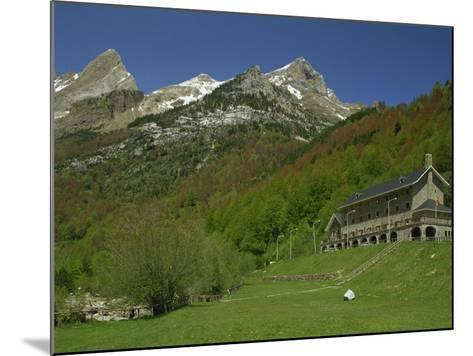 Parador of Bielsa with Snow Capped Mountains Behind, in Aragon, Spain, Europe-Michael Busselle-Mounted Photographic Print