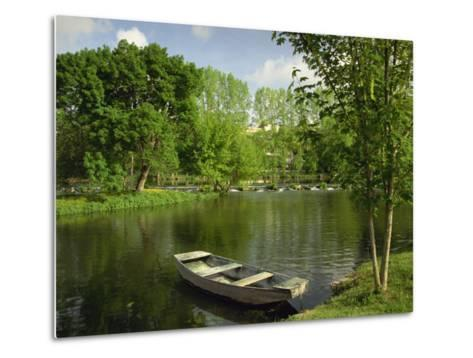Boat on the River Charente, St. Simeux, Poitou Charentes, France, Europe-Michael Busselle-Metal Print