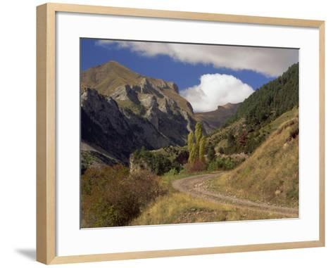 Landscape of Rough Road Through the Mountains Near Bielsa, in the Pyrenees Mountains, Aragon, Spain-Michael Busselle-Framed Art Print