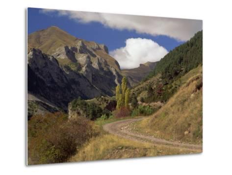 Landscape of Rough Road Through the Mountains Near Bielsa, in the Pyrenees Mountains, Aragon, Spain-Michael Busselle-Metal Print