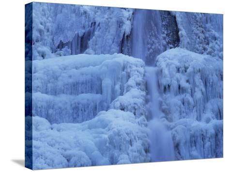 Waterfall Iced over in Winter in Franche-Comte, France, Europe-Michael Busselle-Stretched Canvas Print