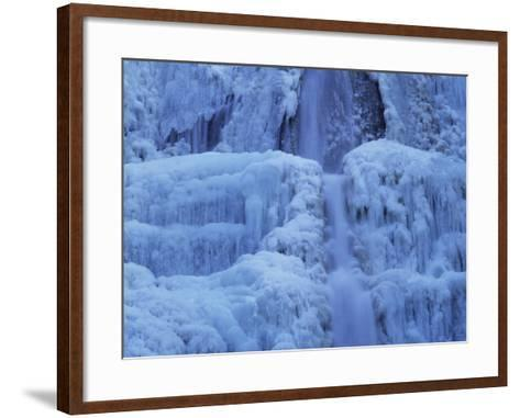 Waterfall Iced over in Winter in Franche-Comte, France, Europe-Michael Busselle-Framed Art Print