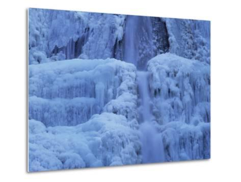 Waterfall Iced over in Winter in Franche-Comte, France, Europe-Michael Busselle-Metal Print