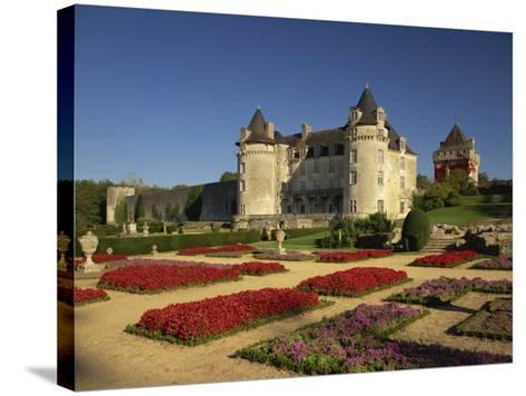 Chateau Rochecourbon and Colourful Flowerbeds in Formal Gardens, Western Loire, France-Michael Busselle-Stretched Canvas Print