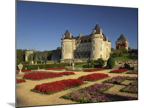 Chateau Rochecourbon and Colourful Flowerbeds in Formal Gardens, Western Loire, France-Michael Busselle-Mounted Photographic Print