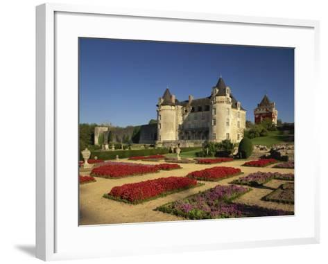 Chateau Rochecourbon and Colourful Flowerbeds in Formal Gardens, Western Loire, France-Michael Busselle-Framed Art Print