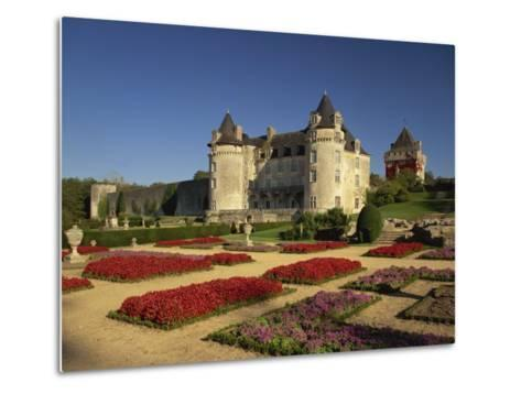 Chateau Rochecourbon and Colourful Flowerbeds in Formal Gardens, Western Loire, France-Michael Busselle-Metal Print