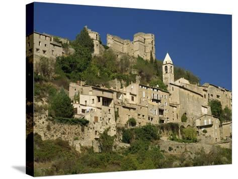 Houses, Church and Old Walls at Montbrun Les Bains in Drome, Rhone-Alpes, France, Europe-Michael Busselle-Stretched Canvas Print