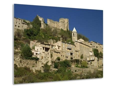 Houses, Church and Old Walls at Montbrun Les Bains in Drome, Rhone-Alpes, France, Europe-Michael Busselle-Metal Print