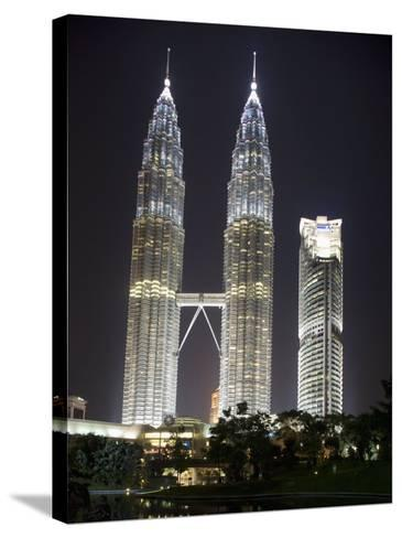 Petronas Towers at Night, Kuala Lumpur, Malaysia, Southeast Asia-Angelo Cavalli-Stretched Canvas Print
