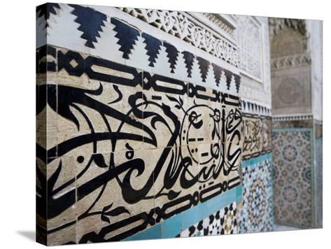 Arabic Calligraphy and Zellij Tilework, Bou Inania Medersa, Meknes, Morocco, North Africa, Africa-Martin Child-Stretched Canvas Print