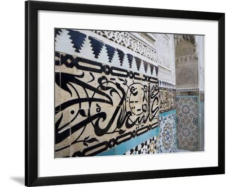 Arabic Calligraphy and Zellij Tilework, Bou Inania Medersa, Meknes, Morocco, North Africa, Africa-Martin Child-Framed Art Print