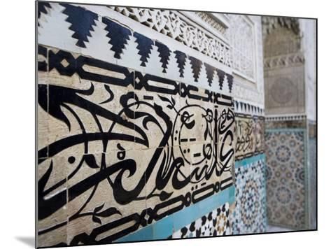 Arabic Calligraphy and Zellij Tilework, Bou Inania Medersa, Meknes, Morocco, North Africa, Africa-Martin Child-Mounted Photographic Print