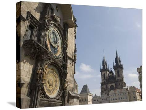 Astronomical Clock, and Church of Our Lady before Tyn, Old Town Square, Prague, Czech Republic-Martin Child-Stretched Canvas Print