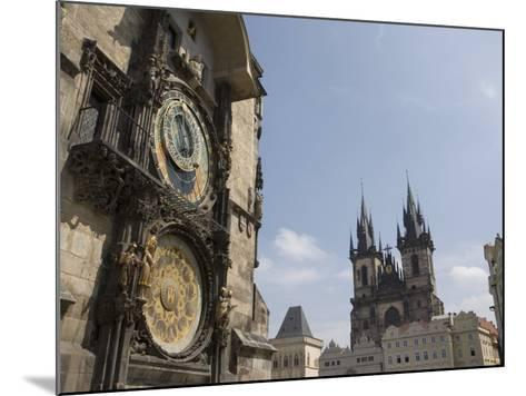 Astronomical Clock, and Church of Our Lady before Tyn, Old Town Square, Prague, Czech Republic-Martin Child-Mounted Photographic Print