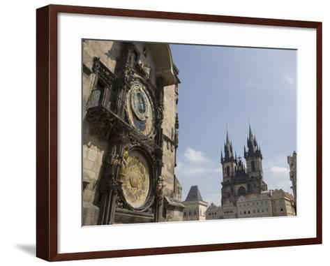 Astronomical Clock, and Church of Our Lady before Tyn, Old Town Square, Prague, Czech Republic-Martin Child-Framed Art Print