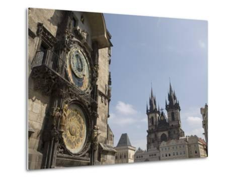 Astronomical Clock, and Church of Our Lady before Tyn, Old Town Square, Prague, Czech Republic-Martin Child-Metal Print