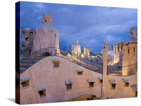 Chimneys and Rooftop, Casa Mila, La Pedrera in the Evening, Barcelona, Catalonia, Spain, Europe-Martin Child-Stretched Canvas Print