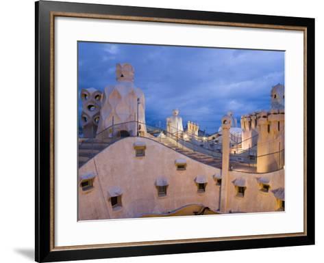 Chimneys and Rooftop, Casa Mila, La Pedrera in the Evening, Barcelona, Catalonia, Spain, Europe-Martin Child-Framed Art Print