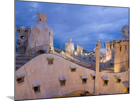 Chimneys and Rooftop, Casa Mila, La Pedrera in the Evening, Barcelona, Catalonia, Spain, Europe-Martin Child-Mounted Photographic Print