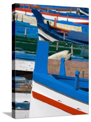 Colourful Traditional Fishing Boats, Aci Trezza, Sicily, Italy, Europe-Martin Child-Stretched Canvas Print