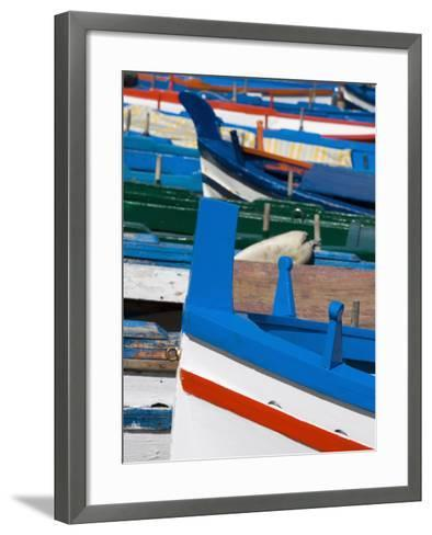 Colourful Traditional Fishing Boats, Aci Trezza, Sicily, Italy, Europe-Martin Child-Framed Art Print