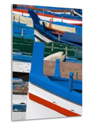 Colourful Traditional Fishing Boats, Aci Trezza, Sicily, Italy, Europe-Martin Child-Metal Print