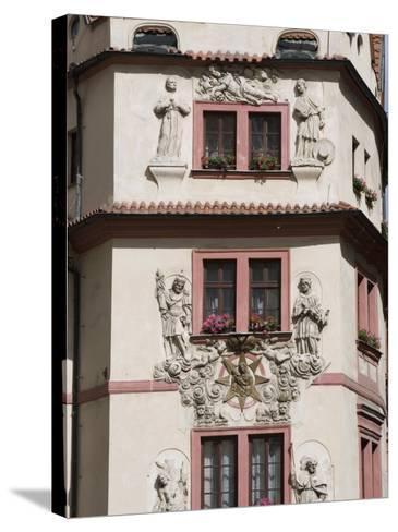 Decorative Facade of House, Karlova, Old Town, Prague, Czech Republic, Europe-Martin Child-Stretched Canvas Print