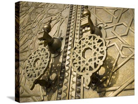 Detail of Bronze Door, Royal Palace, Fez El-Jedid, Fez, Morocco, North Africa, Africa-Martin Child-Stretched Canvas Print
