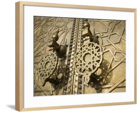 Detail of Bronze Door, Royal Palace, Fez El-Jedid, Fez, Morocco, North Africa, Africa-Martin Child-Framed Art Print