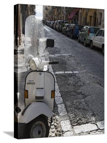 Motor Scooter Parked on Street, Cefalu, Sicily, Italy, Europe-Martin Child-Stretched Canvas Print