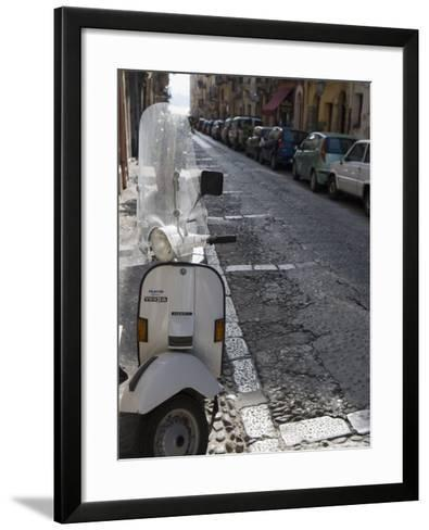 Motor Scooter Parked on Street, Cefalu, Sicily, Italy, Europe-Martin Child-Framed Art Print