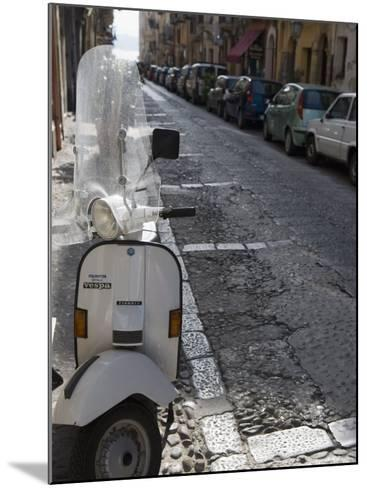 Motor Scooter Parked on Street, Cefalu, Sicily, Italy, Europe-Martin Child-Mounted Photographic Print