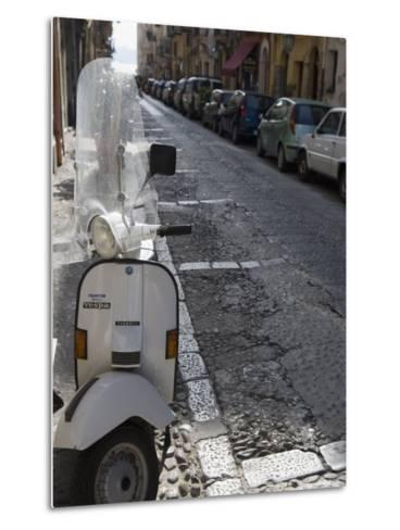 Motor Scooter Parked on Street, Cefalu, Sicily, Italy, Europe-Martin Child-Metal Print