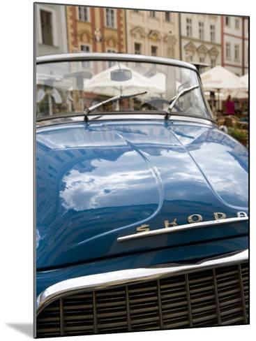 Old Blue Skoda Car, Old Town, Prague, Czech Republic, Europe-Martin Child-Mounted Photographic Print
