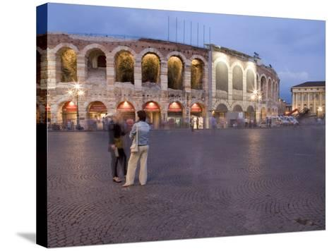 Piazza Bra, Roman Arena at Dusk, Verona, Veneto, Italy, Europe-Martin Child-Stretched Canvas Print