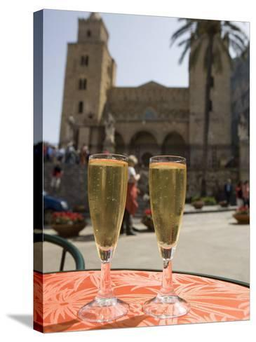 Prosecco Wine on Cafe Table, Cathedral Behind, Piazza Duomo, Cefalu, Sicily, Italy, Europe-Martin Child-Stretched Canvas Print